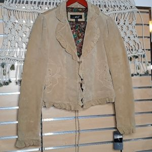Tan 100% leather embroidered ruffle crop jacket